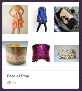 Etsy is one of my favorite places to shop and with the 'add' feature I can place products in my Shopcade!